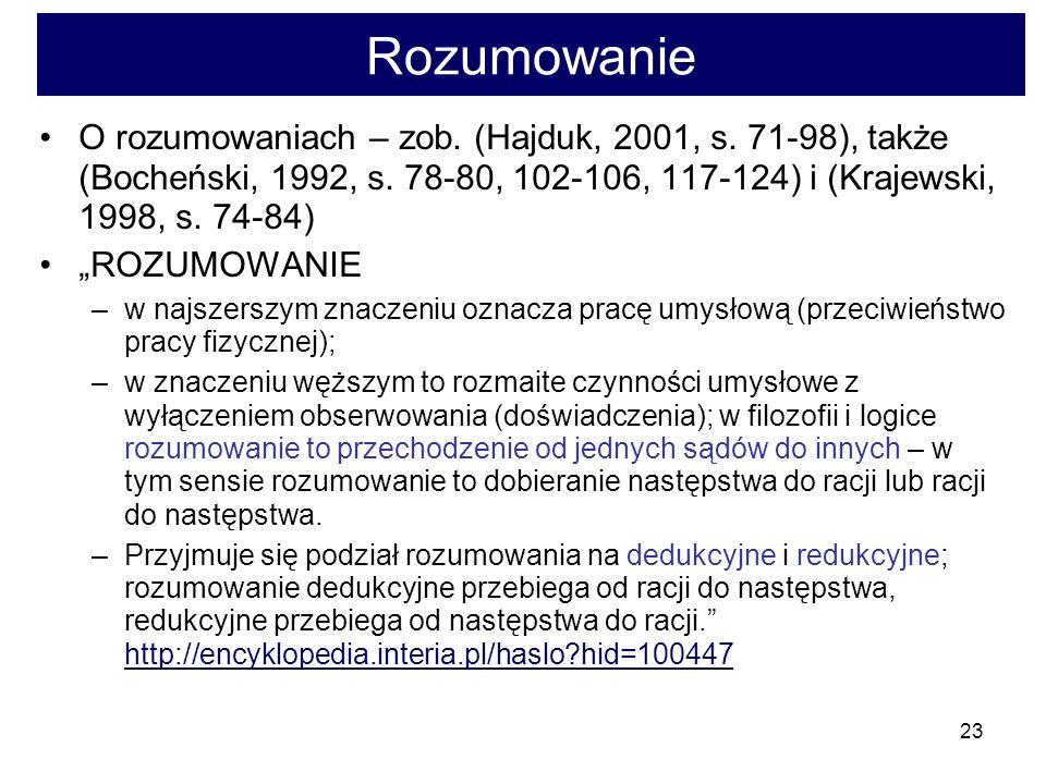 Rozumowanie O rozumowaniach – zob. (Hajduk, 2001, s. 71-98), także (Bocheński, 1992, s. 78-80, 102-106, 117-124) i (Krajewski, 1998, s. 74-84)