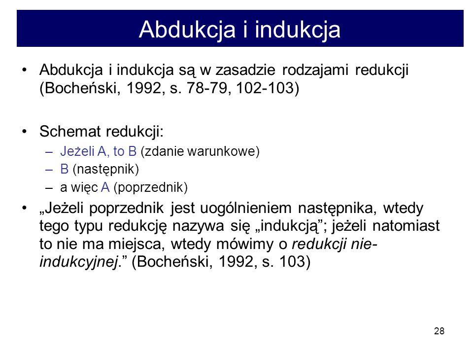 Abdukcja i indukcja Abdukcja i indukcja są w zasadzie rodzajami redukcji (Bocheński, 1992, s. 78-79, 102-103)