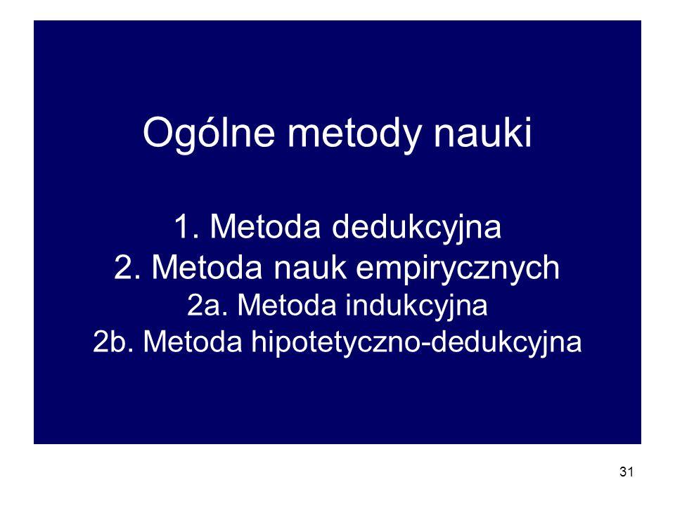 Ogólne metody nauki 1. Metoda dedukcyjna 2. Metoda nauk empirycznych 2a.