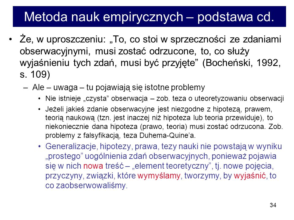 Metoda nauk empirycznych – podstawa cd.