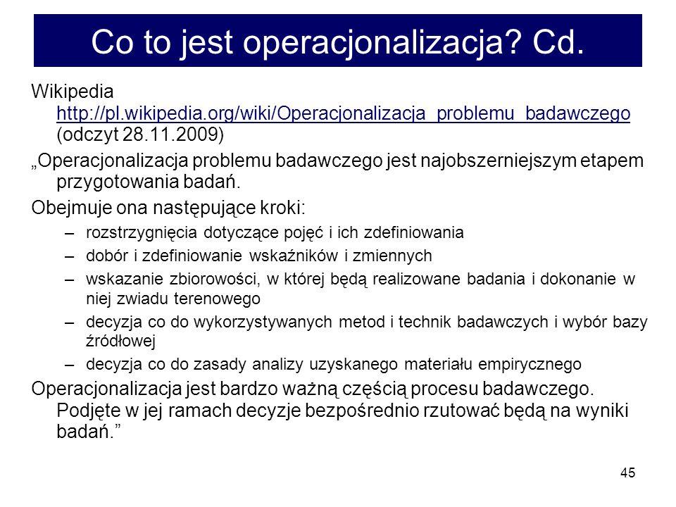 Co to jest operacjonalizacja Cd.