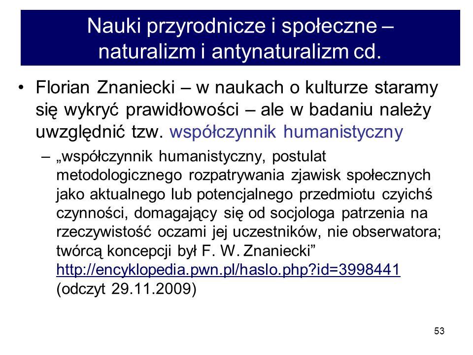 Nauki przyrodnicze i społeczne – naturalizm i antynaturalizm cd.