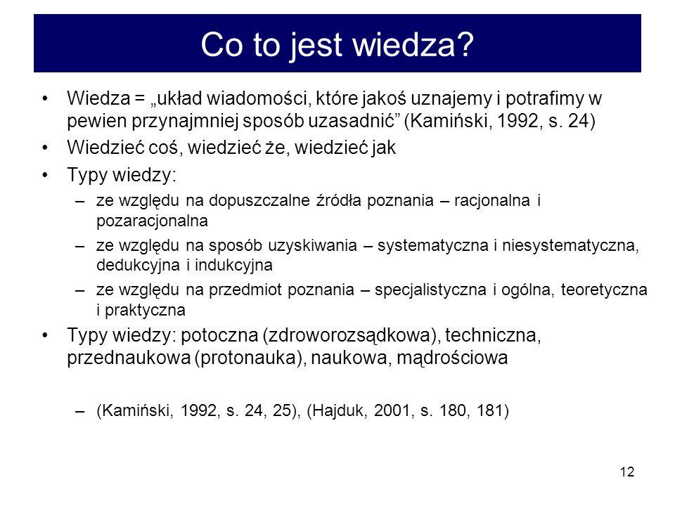 """Co to jest wiedza Wiedza = """"układ wiadomości, które jakoś uznajemy i potrafimy w pewien przynajmniej sposób uzasadnić (Kamiński, 1992, s. 24)"""