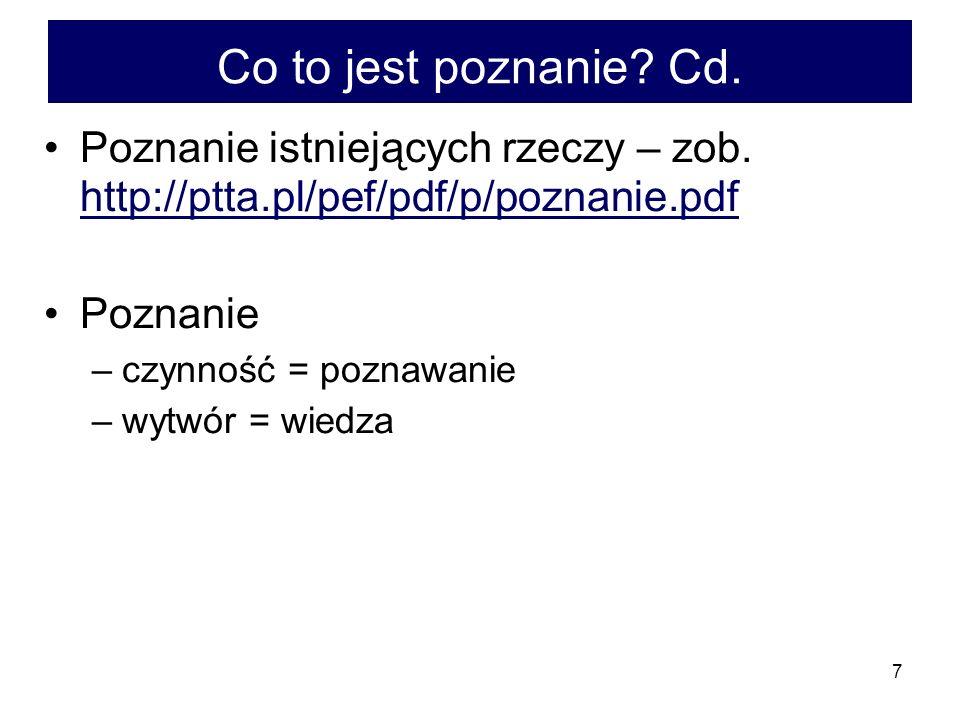 Co to jest poznanie Cd. Poznanie istniejących rzeczy – zob. http://ptta.pl/pef/pdf/p/poznanie.pdf.