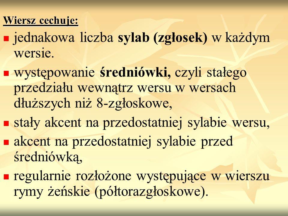 jednakowa liczba sylab (zgłosek) w każdym wersie.