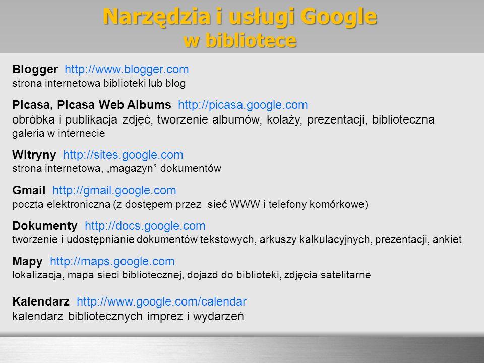 Narzędzia i usługi Google w bibliotece