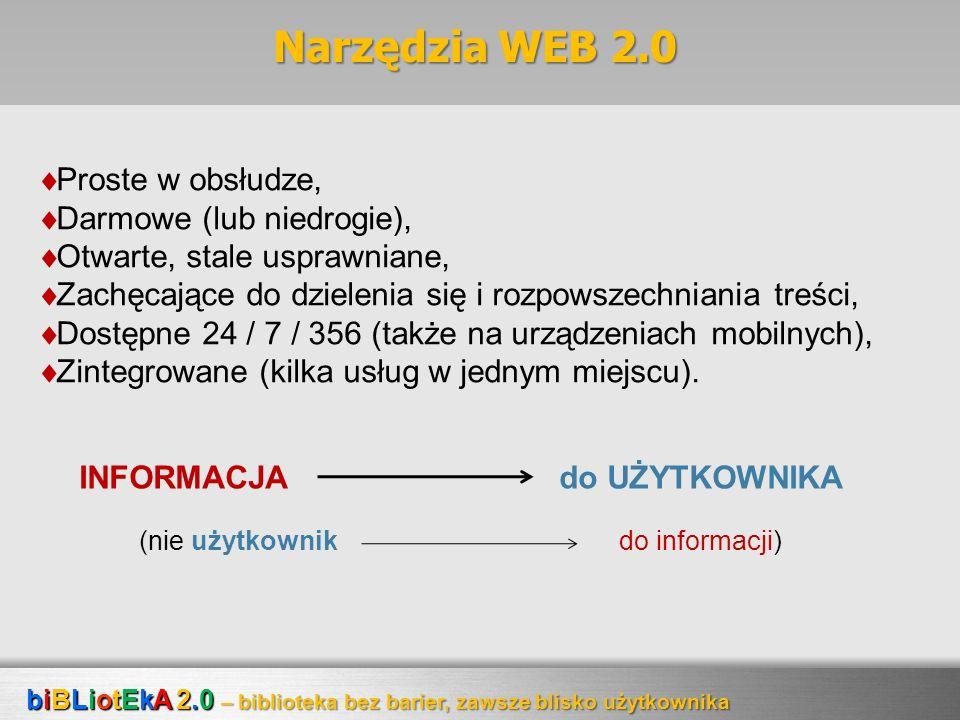 Narzędzia WEB 2.0 Proste w obsłudze, Darmowe (lub niedrogie),