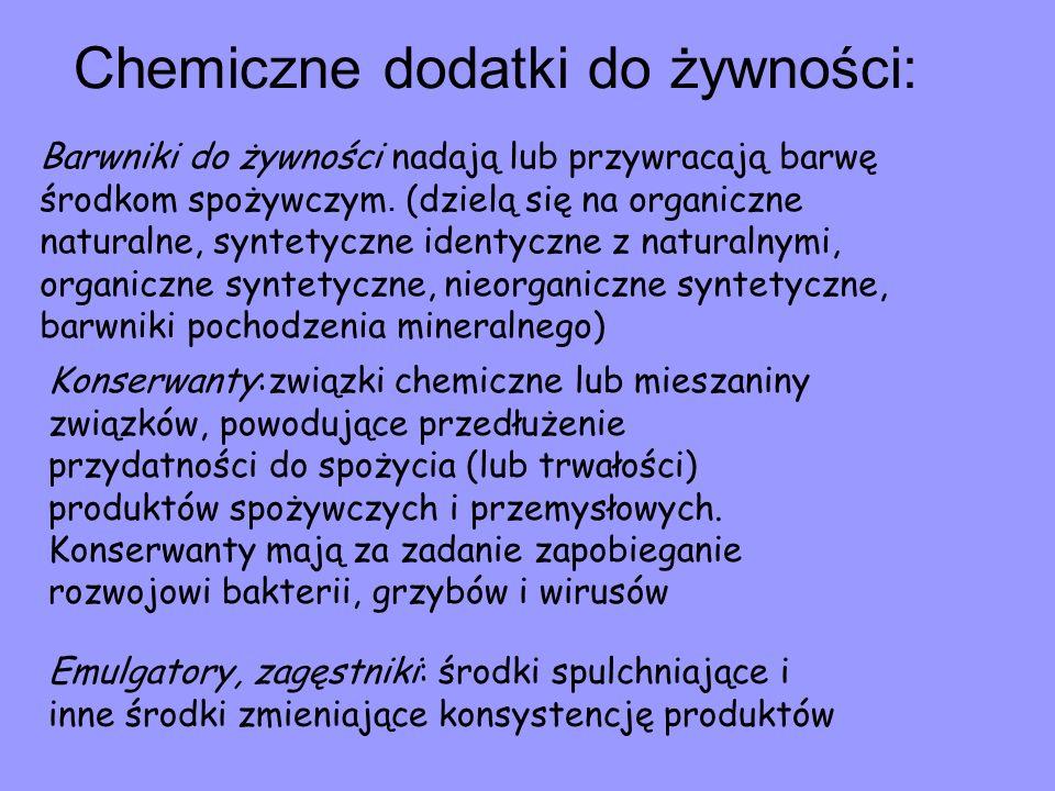 Chemiczne dodatki do żywności: