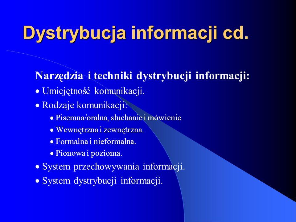Dystrybucja informacji cd.