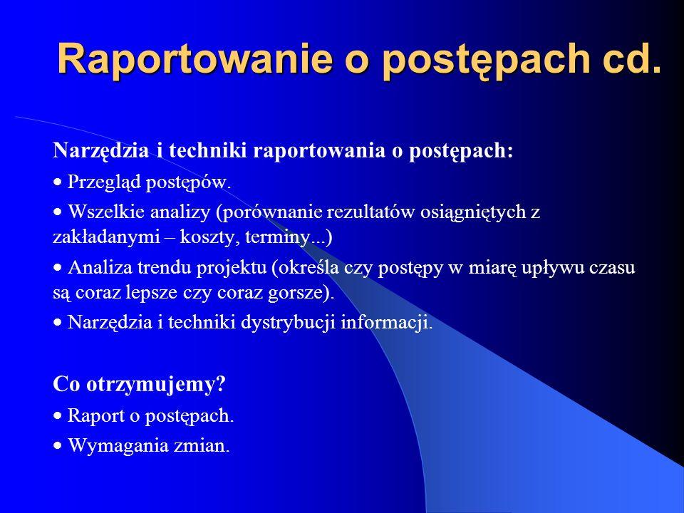 Raportowanie o postępach cd.