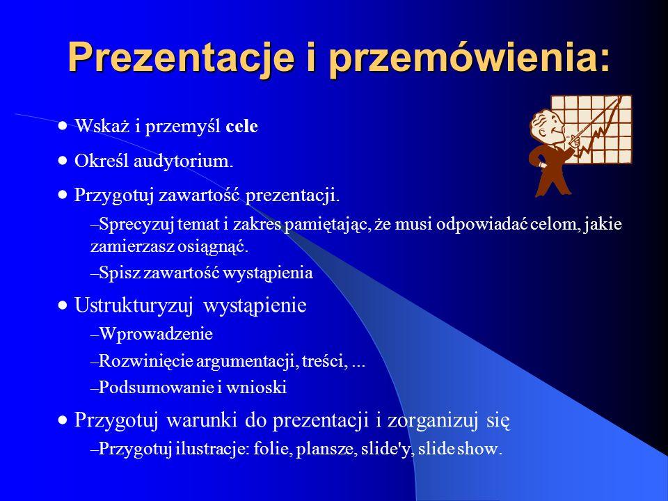 Prezentacje i przemówienia: