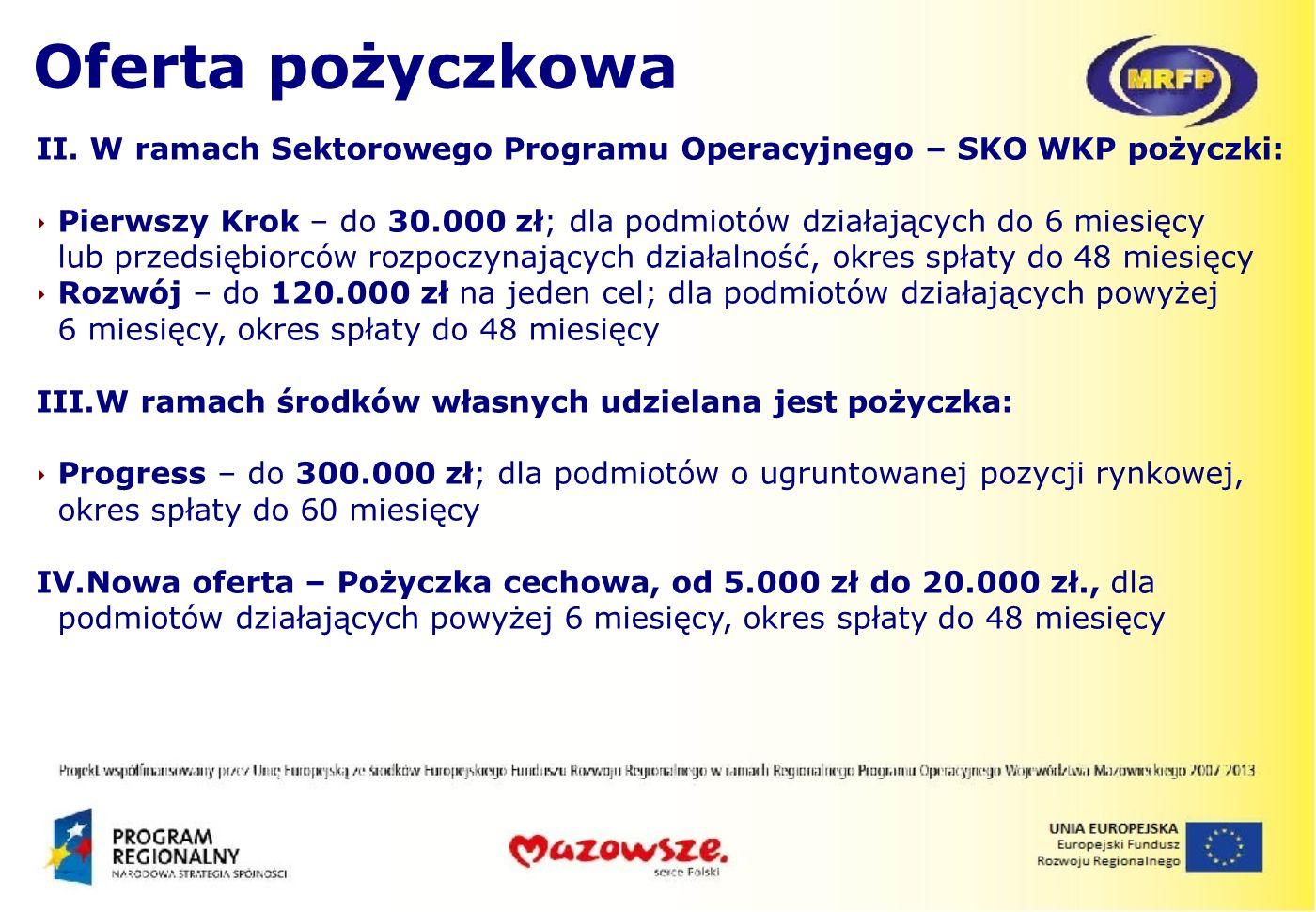 Oferta pożyczkowa II. W ramach Sektorowego Programu Operacyjnego – SKO WKP pożyczki: