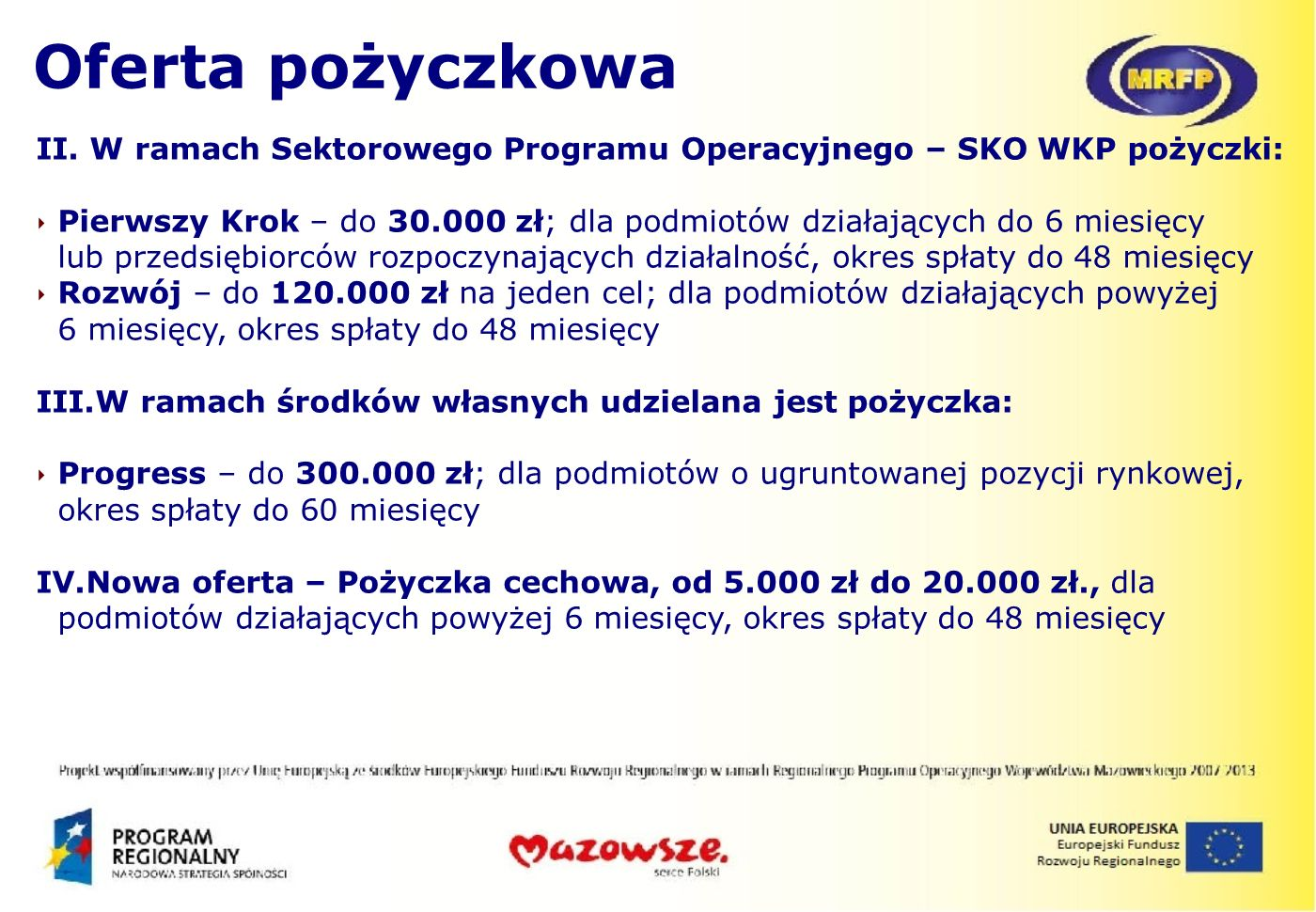 Oferta pożyczkowaII. W ramach Sektorowego Programu Operacyjnego – SKO WKP pożyczki: