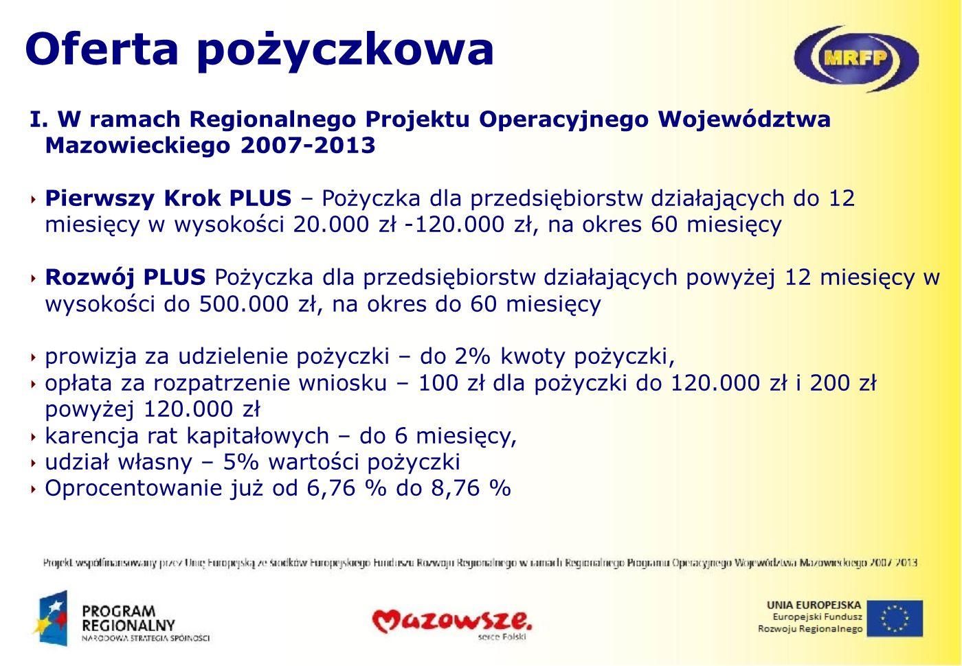 Oferta pożyczkowaI. W ramach Regionalnego Projektu Operacyjnego Województwa Mazowieckiego 2007-2013.