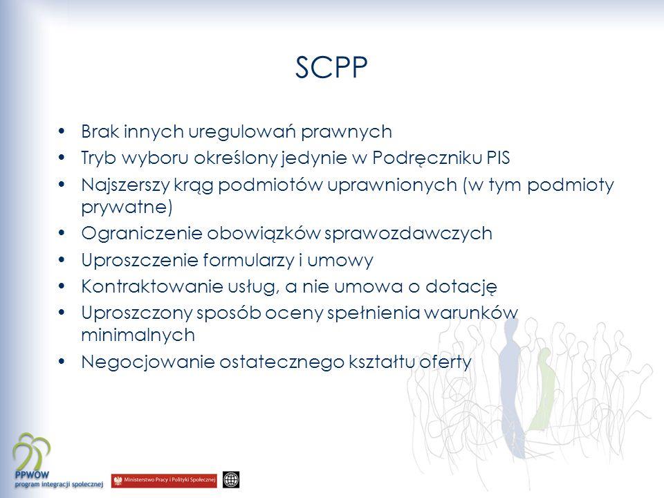 SCPP Brak innych uregulowań prawnych