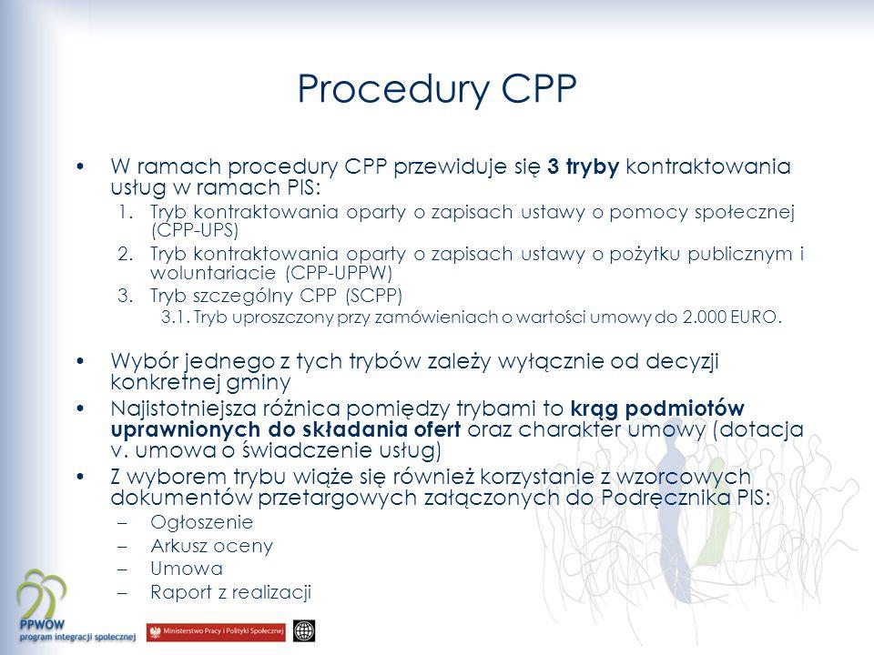 Procedury CPP W ramach procedury CPP przewiduje się 3 tryby kontraktowania usług w ramach PIS: