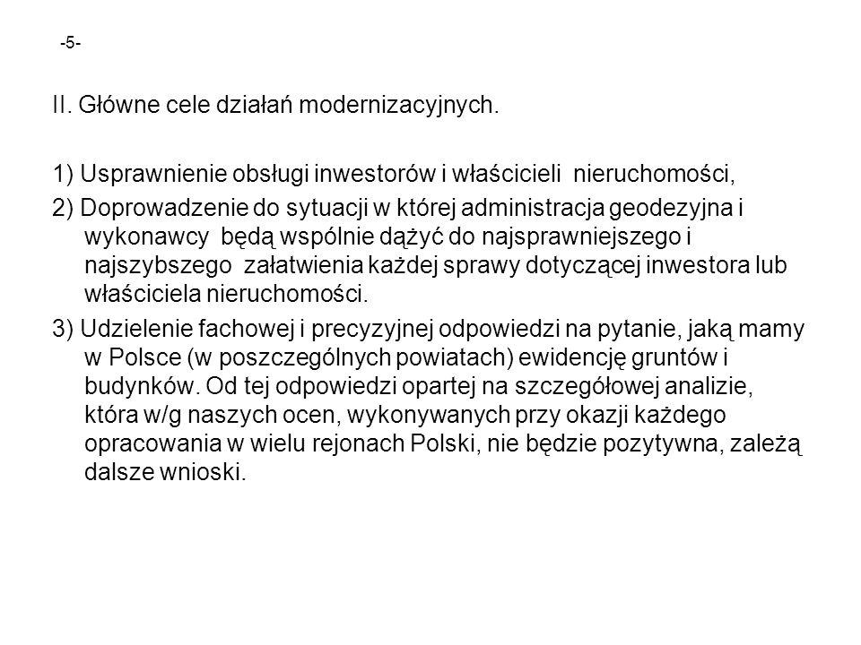 II. Główne cele działań modernizacyjnych.
