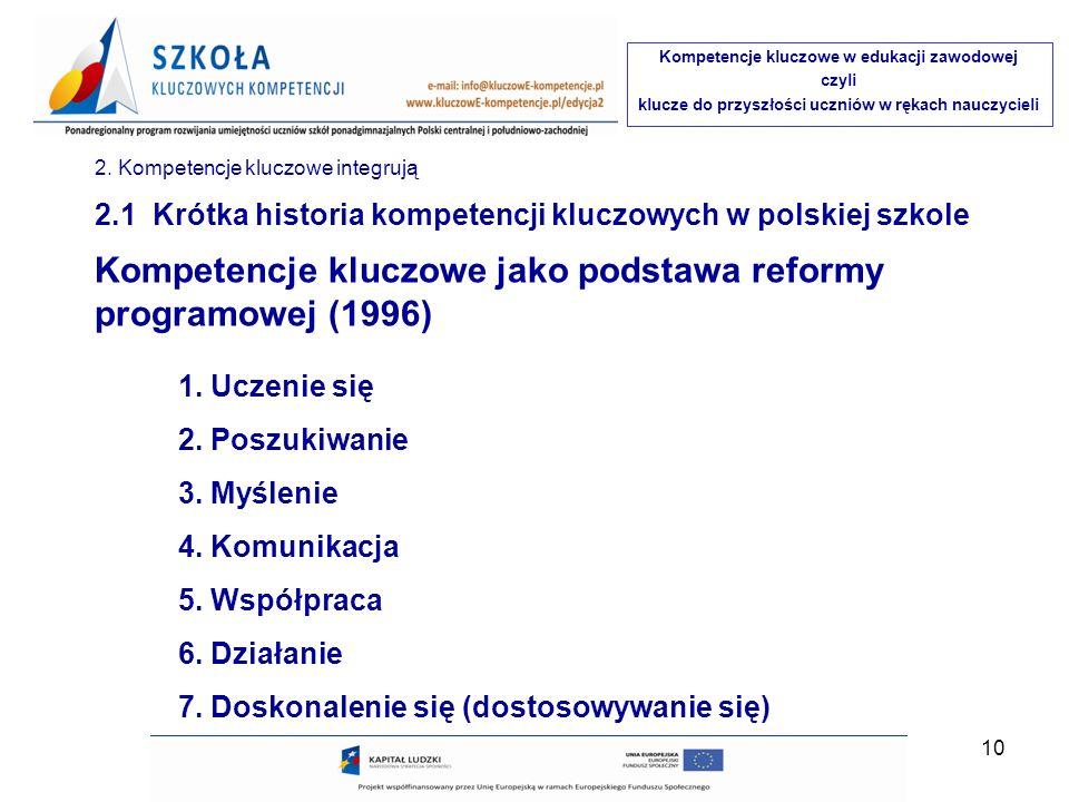 Kompetencje kluczowe jako podstawa reformy programowej (1996)