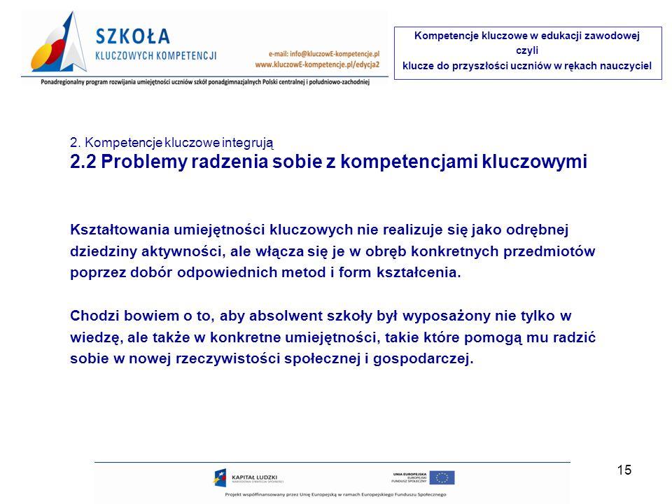 2.2 Problemy radzenia sobie z kompetencjami kluczowymi
