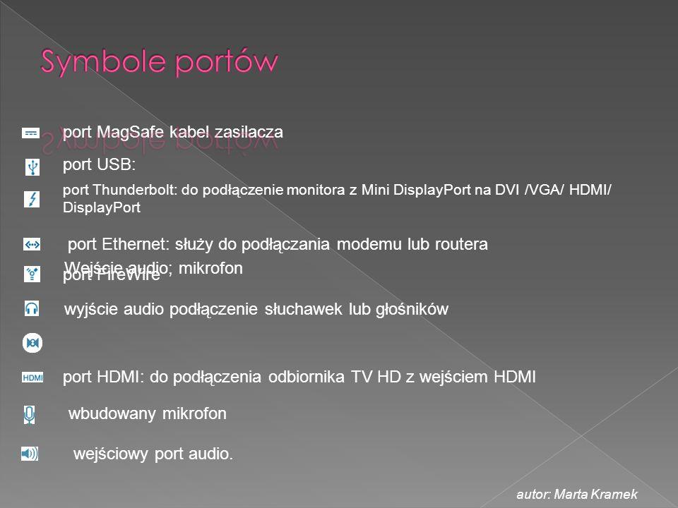 Symbole portów port MagSafe kabel zasilacza port USB: