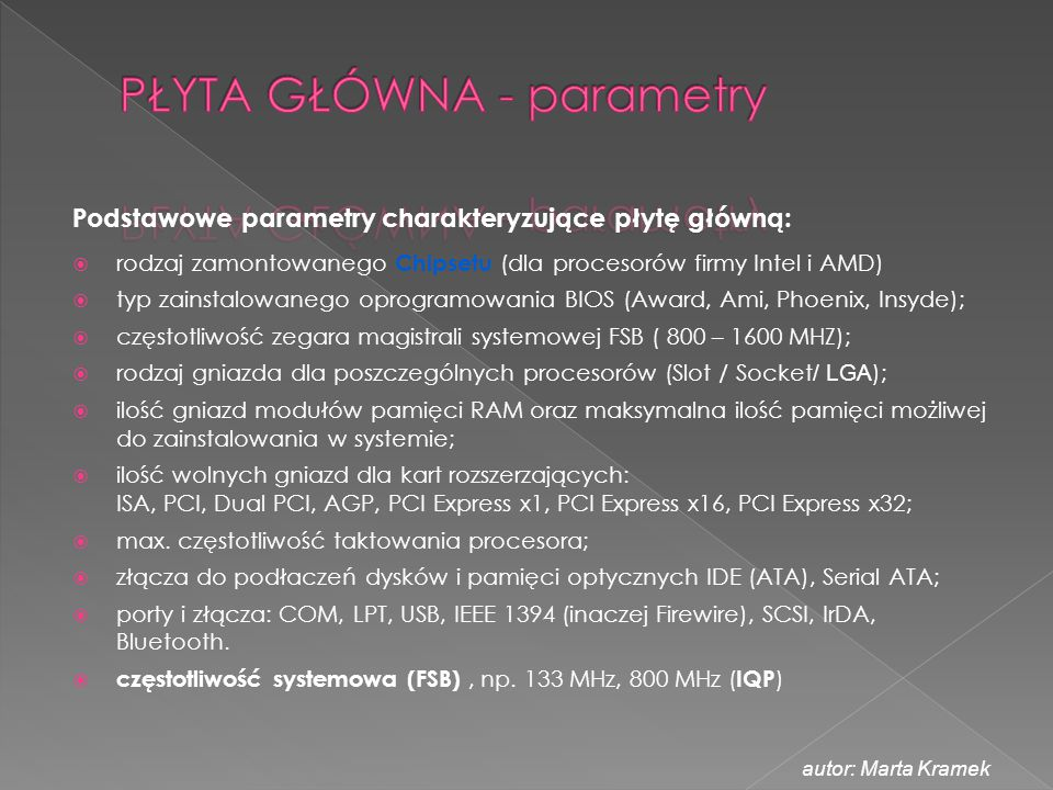PŁYTA GŁÓWNA - parametry