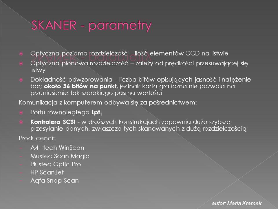 SKANER - parametry Optyczna pozioma rozdzielczość – ilość elementów CCD na listwie.