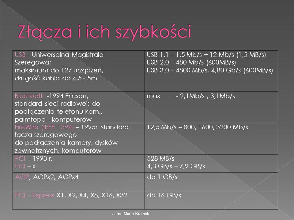 Złącza i ich szybkości USB - Uniwersalna Magistrala Szeregowa;