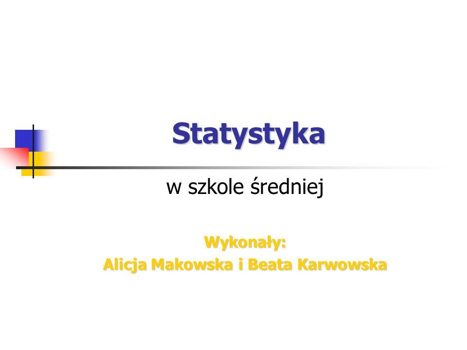w szkole średniej Wykonały: Alicja Makowska i Beata Karwowska