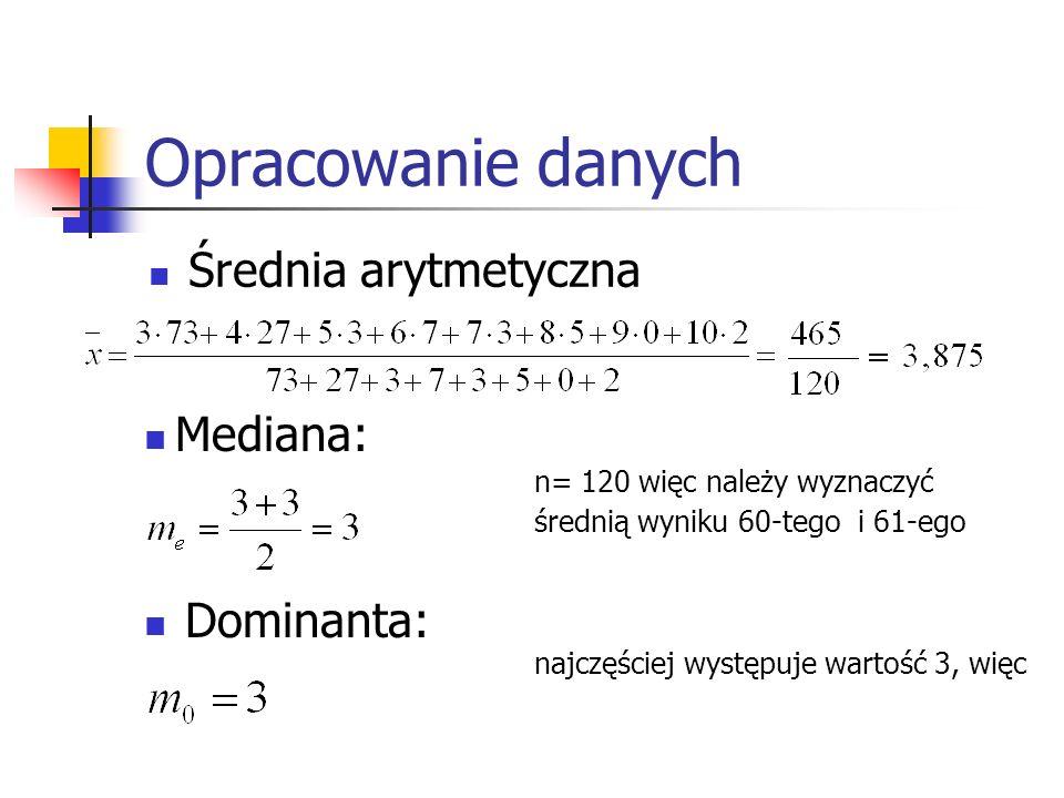 Opracowanie danych Średnia arytmetyczna Mediana: