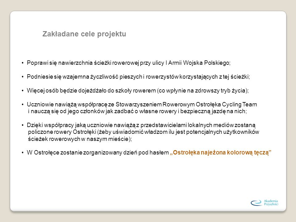 Zakładane cele projektu