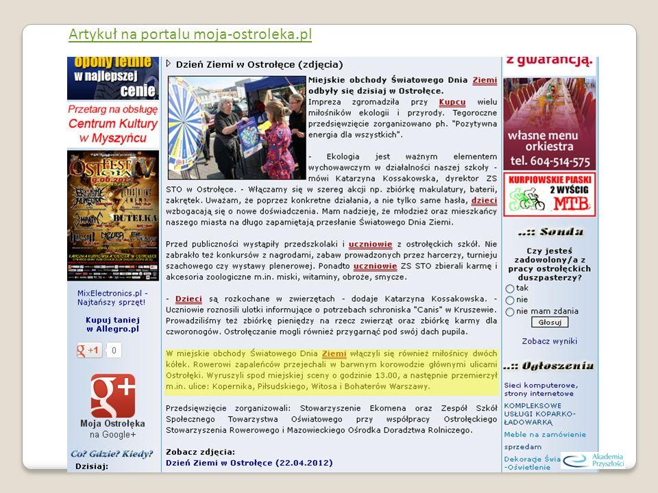 Artykuł na portalu moja-ostroleka.pl