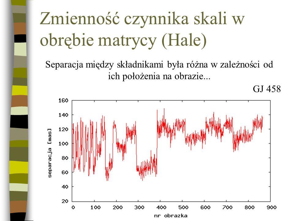 Zmienność czynnika skali w obrębie matrycy (Hale)