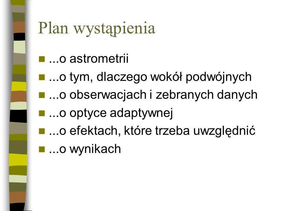 Plan wystąpienia ...o astrometrii ...o tym, dlaczego wokół podwójnych