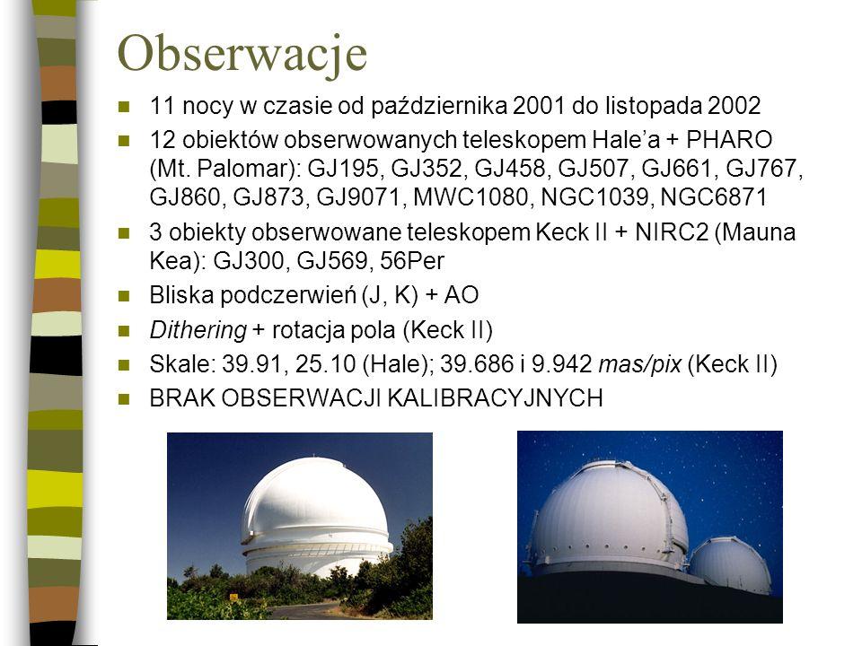 Obserwacje 11 nocy w czasie od października 2001 do listopada 2002