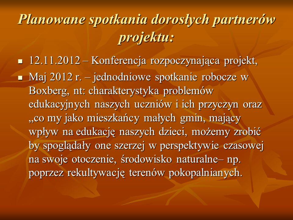 Planowane spotkania dorosłych partnerów projektu: