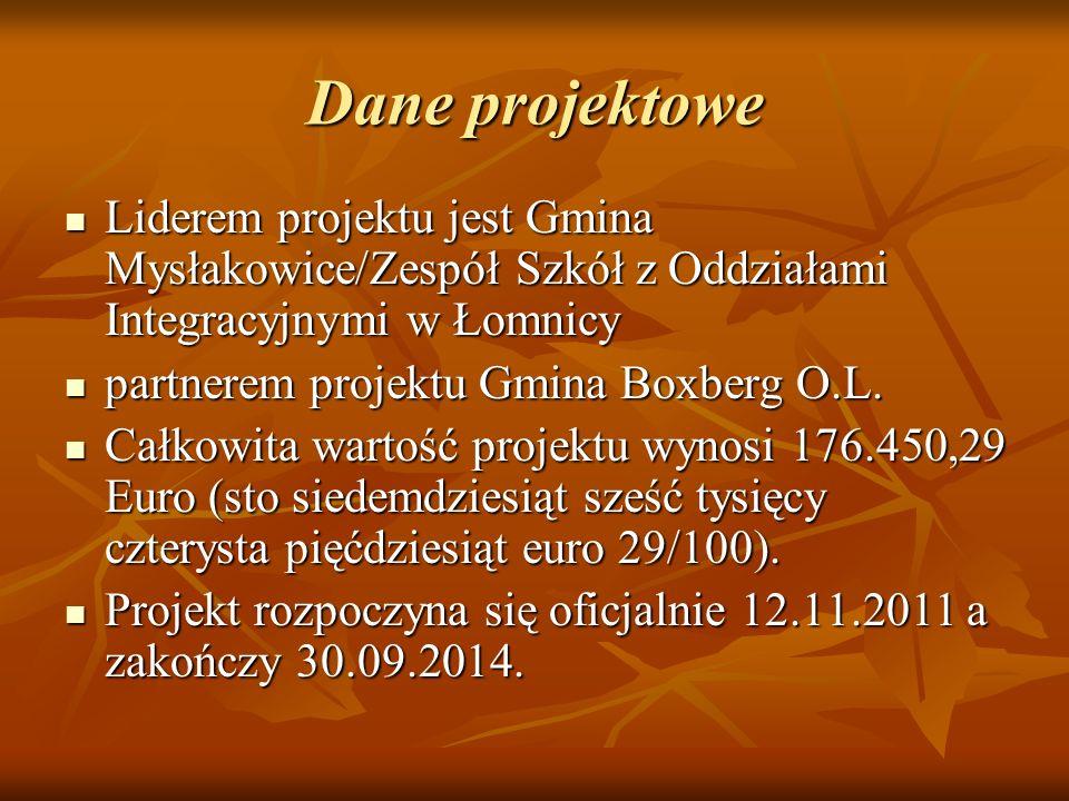 Dane projektowe Liderem projektu jest Gmina Mysłakowice/Zespół Szkół z Oddziałami Integracyjnymi w Łomnicy.