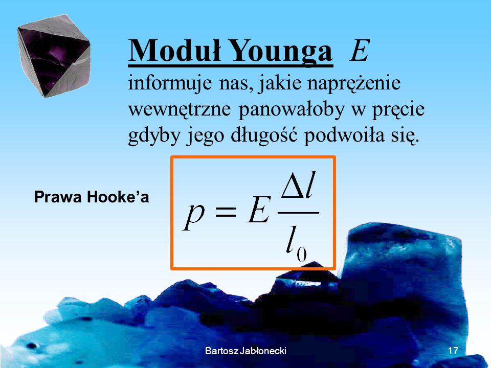 Moduł Younga Einformuje nas, jakie naprężenie wewnętrzne panowałoby w pręcie gdyby jego długość podwoiła się.