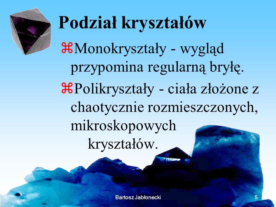 Podział kryształów Monokryształy - wygląd przypomina regularną bryłę.