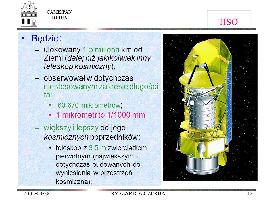 CAMK PAN TORUN HSO. Będzie: ulokowany 1.5 miliona km od Ziemi (dalej niż jakikolwiek inny teleskop kosmiczny);