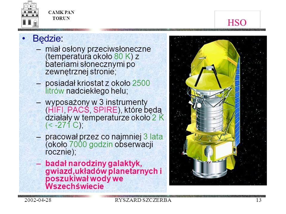 CAMK PAN TORUN HSO. Będzie: miał osłony przeciwsłoneczne (temperatura około 80 K) z bateriami słonecznymi po zewnętrznej stronie;