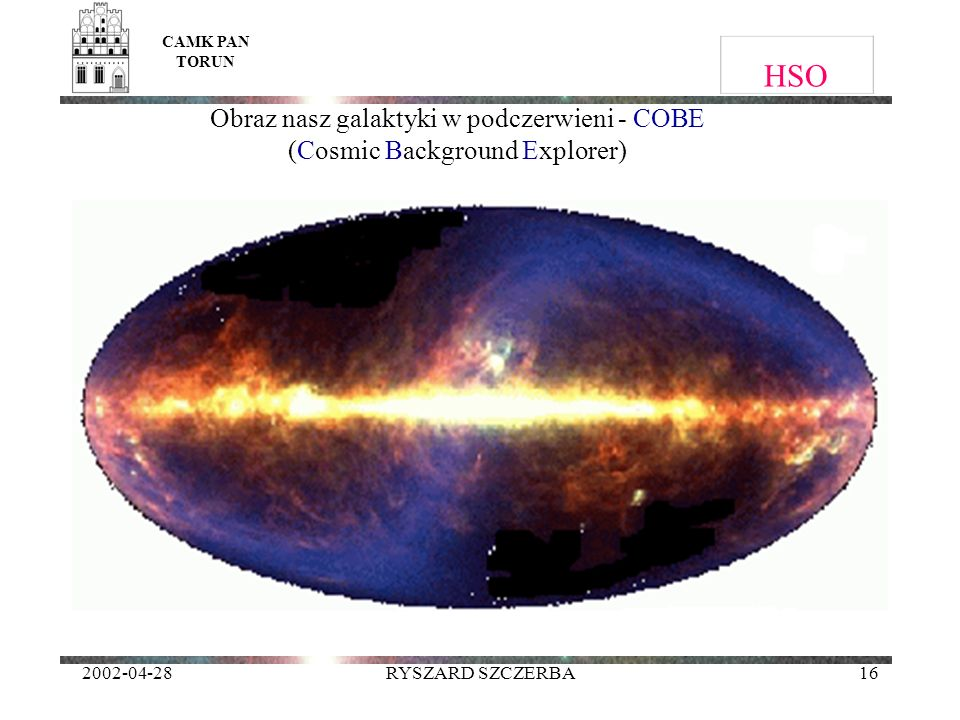 CAMK PAN TORUN HSO. Obraz nasz galaktyki w podczerwieni - COBE (Cosmic Background Explorer) 2002-04-28.