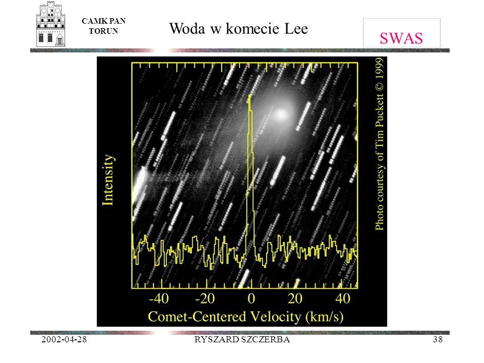 CAMK PAN TORUN Woda w komecie Lee SWAS 2002-04-28 RYSZARD SZCZERBA