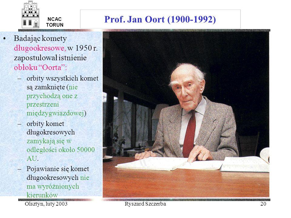 Prof. Jan Oort (1900-1992) NCAC TORUN. Badając komety długookresowe, w 1950 r. zapostulował istnienie obłoku Oorta :