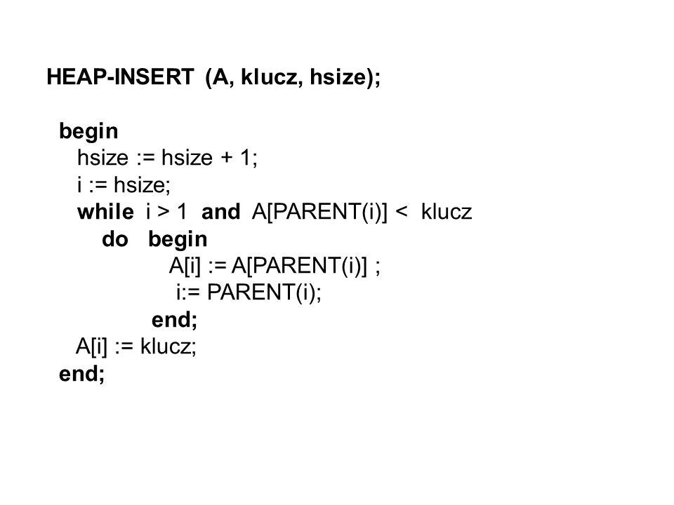 HEAP-INSERT (A, klucz, hsize);