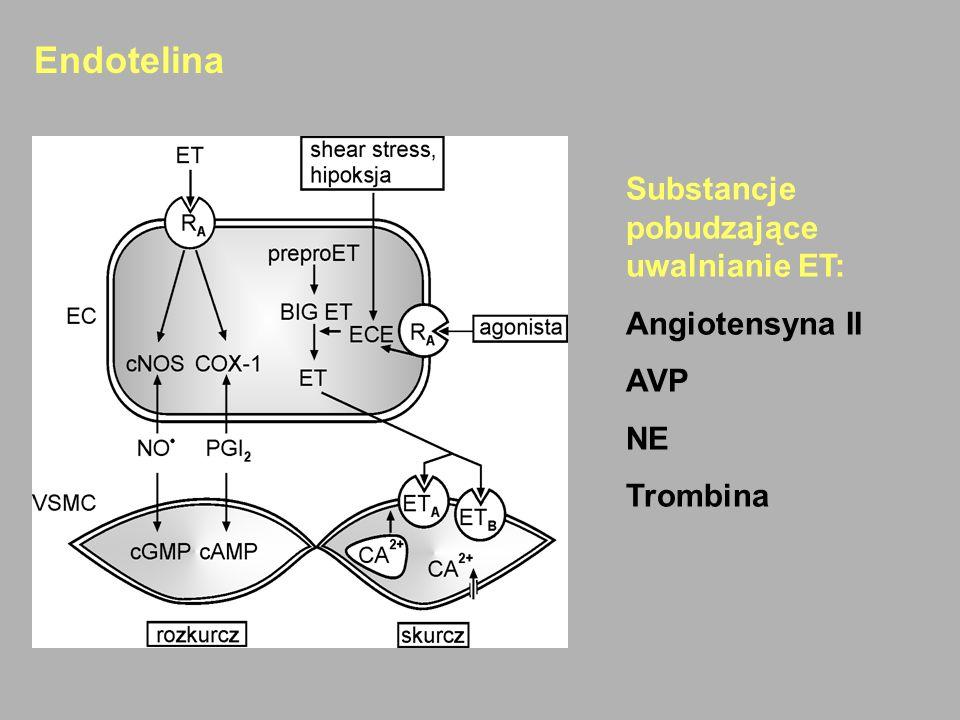 Endotelina Substancje pobudzające uwalnianie ET: Angiotensyna II AVP