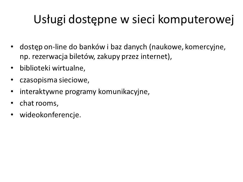 Usługi dostępne w sieci komputerowej