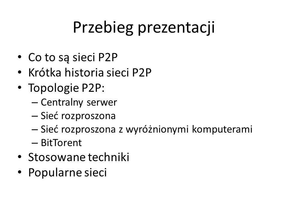 Przebieg prezentacji Co to są sieci P2P Krótka historia sieci P2P