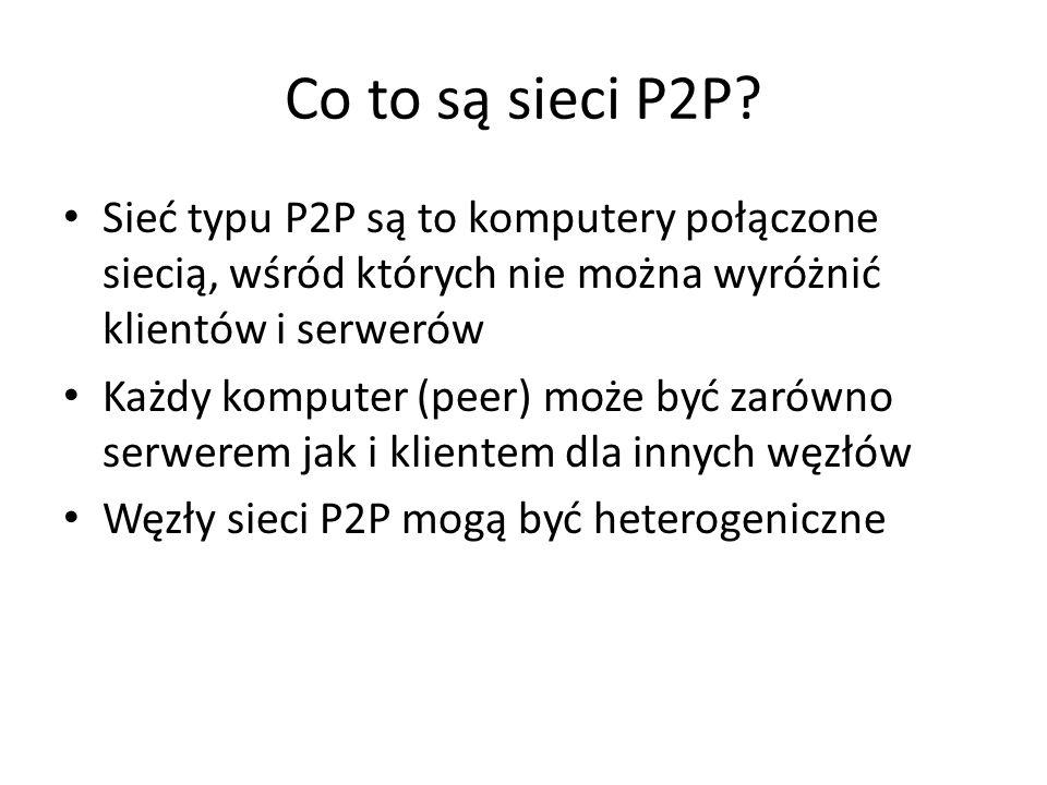 Co to są sieci P2P Sieć typu P2P są to komputery połączone siecią, wśród których nie można wyróżnić klientów i serwerów.
