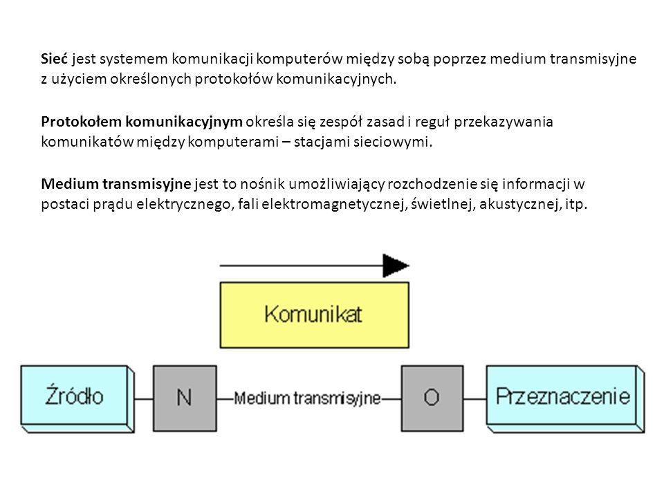 Sieć jest systemem komunikacji komputerów między sobą poprzez medium transmisyjne z użyciem określonych protokołów komunikacyjnych.