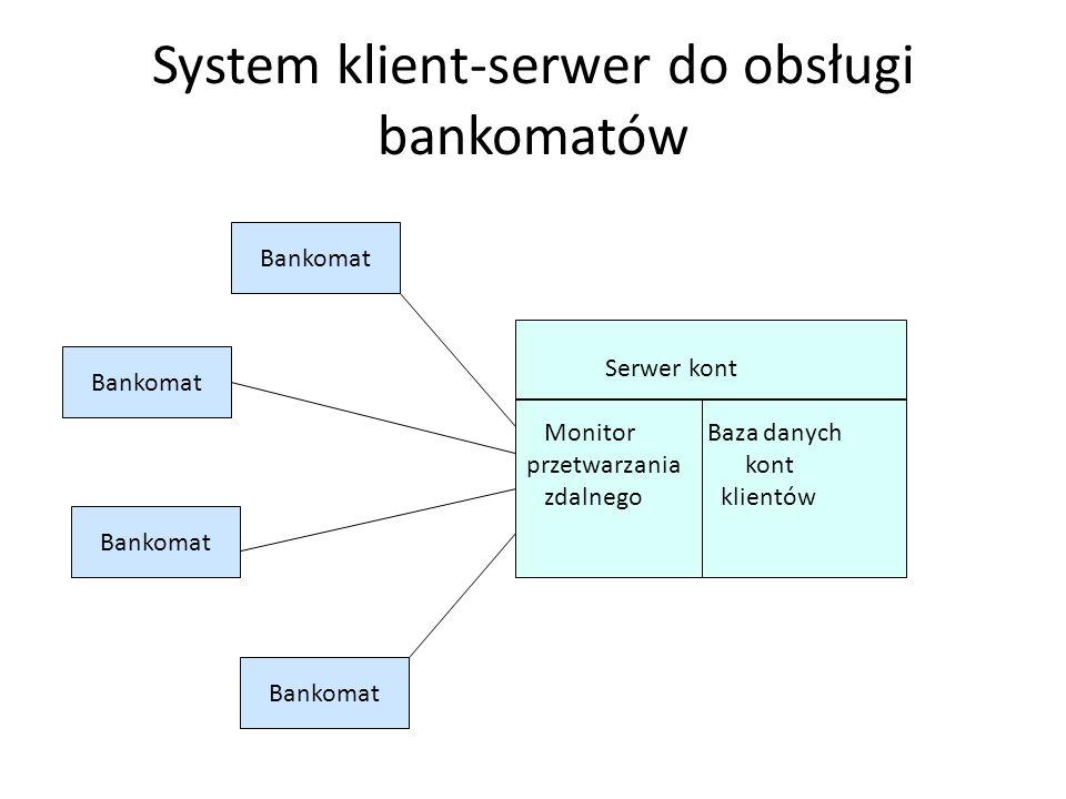 System klient-serwer do obsługi bankomatów
